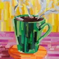 Green Coffee Cup Collage by Megan Coyle