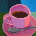 Pink Coffee Cup Collage by Megan Coyle