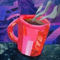 Red Coffee Cup Collage by Megan Coyle