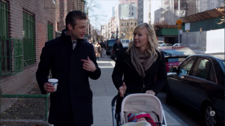 Peter Scanavino with Kelli Giddish and an Anthora coffee cup on the TV show Law & Order: SVU