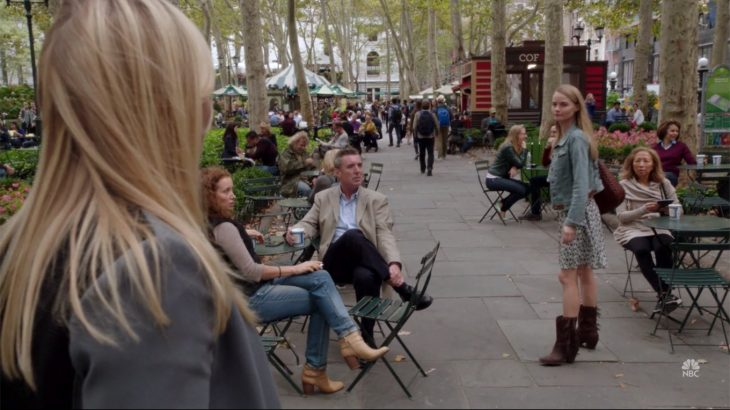 People drink from Anthora coffee cups in the park near Lindsay Pulsipher on the TV show Law & Order: SVU