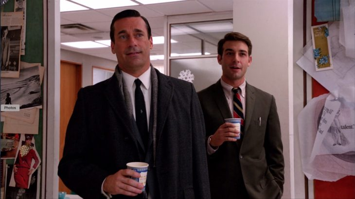 Jon Hamm and James Wolk with Anthora coffee cups in Mad Men