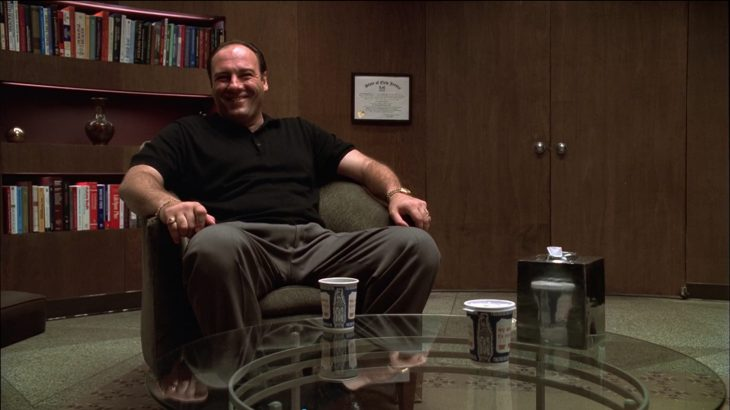 James Gandolfini with Anthora coffee cups in the TV show The Sopranos