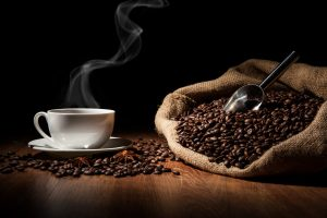 Coffee cup and coffee beans