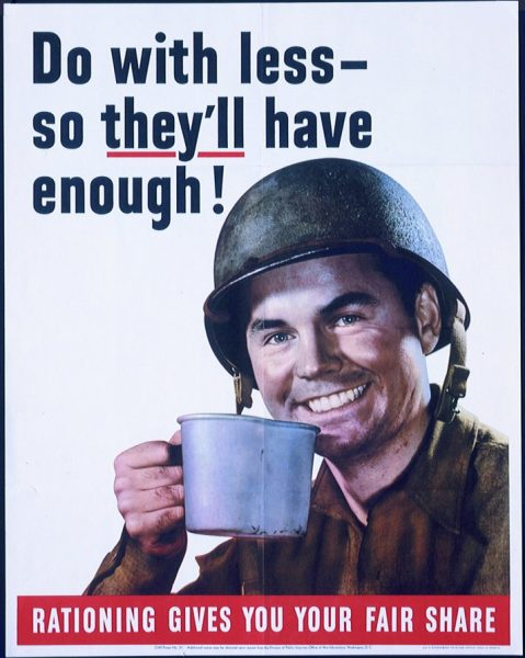 """World War 2 """"Less is more"""" poster promoting coffee rationing in the United States"""
